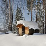 Dspas round barrel sauna in the snow jaak nilson