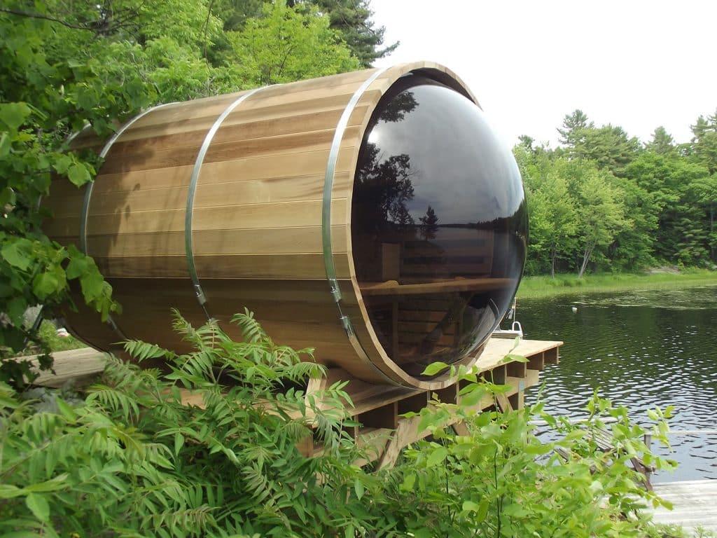 Sauna extérieur panoramique en cèdre du Canada