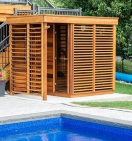 Dspas Sauna exterieur Purecube devant