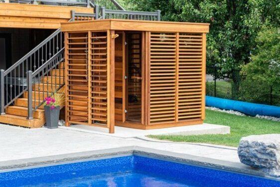 Sauna exterieur Leisure Purecube avant