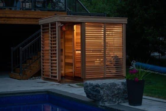 Sauna exterieur Leisure Purecube nuit